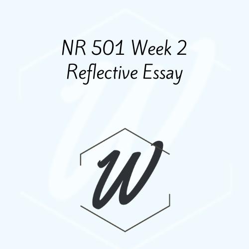 NR 501 Week 2 Reflective Essay