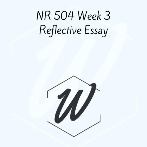 NR 504 Week 3 Reflective Essay