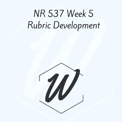 NR 537 Week 5 Rubric Development